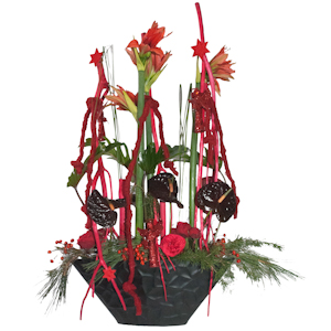 Composition d'Amaryllis rouges et d'Anthurium - MB Murielle Bailet ®